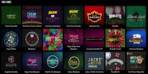 Rizk Casino Table Games Screenshot