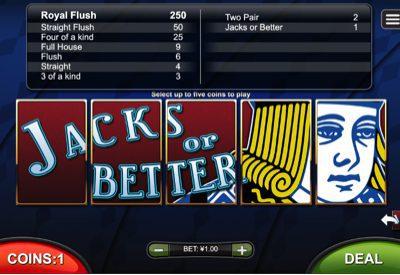 Jacks or Better RTG Screen